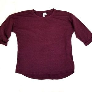 H&M Divided Basic Sweater Burgundy Dolman Tunic